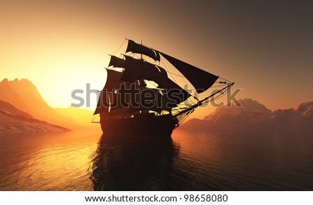 Old ship with sails in the mist.