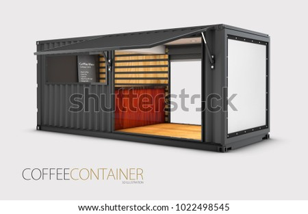 Old shipping container is converted into a chic coffee shop, 3d Illustration.