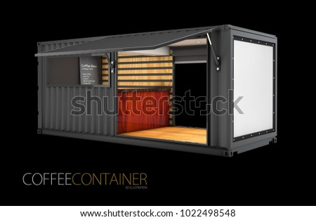 Old shipping container is converted into a chic coffee shop, 3d Illustration, solated black.