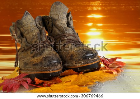 old shoes. Shoes overage. Shoes which have walked many kilometers