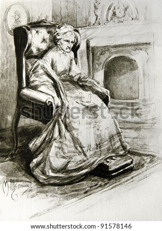 "Old sick woman sitting in a chair - llustration by M. Shcheglov, ""illustrated collection of the works by Leo Tolstoy,"" publisher - ""Partnership Sytin"", Moscow, Russia, 1914."