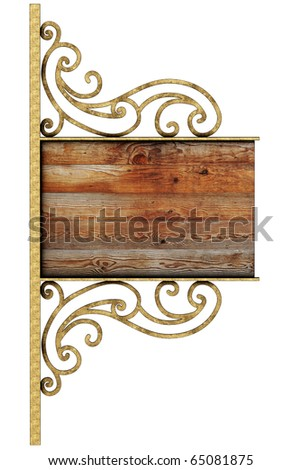 Old signboard. Isolated on white, with clipping path.