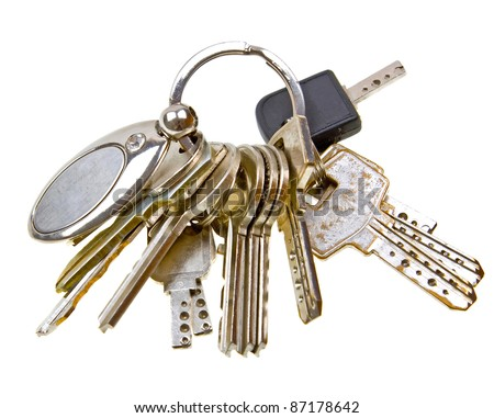 Old silver keys isolated on white background