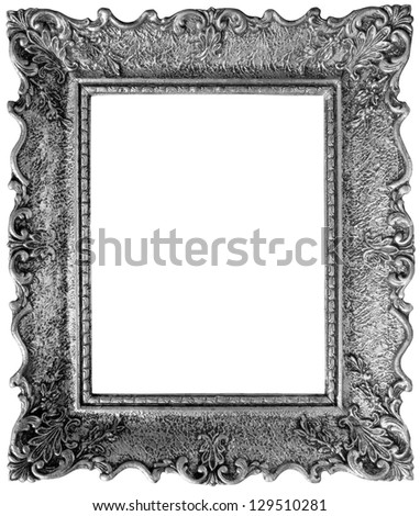 Old Silver Picture Frame with Clipping Path inside and outside