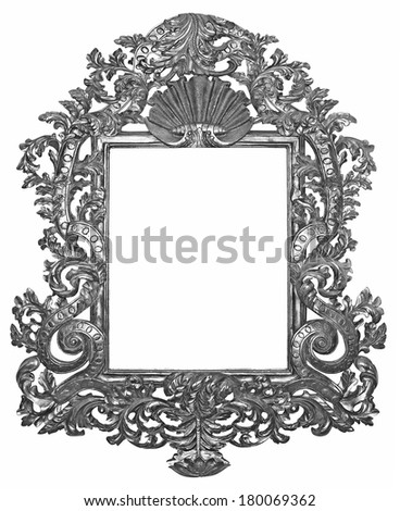 Old silver wooden frame for mirrors