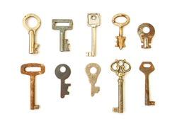 Old skeleton keys isolated on white background