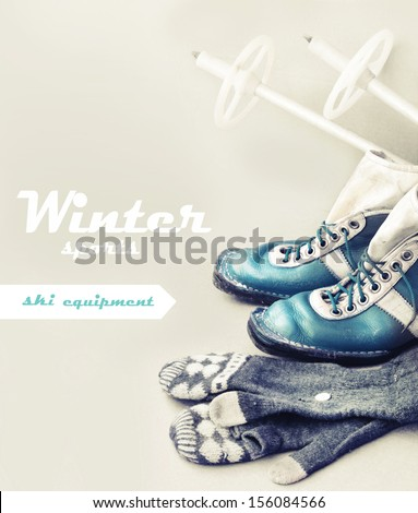 Old ski equipment Ski shoes and mittens in vintage style Old Soviet ski boots