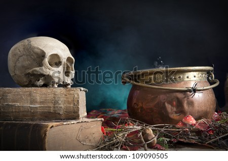 old skull on old book