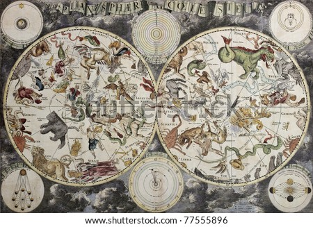 old sky map depicting boreal...