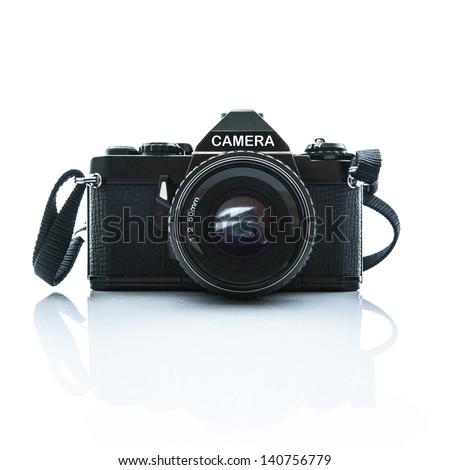 Old SLR Black Camera on White Background