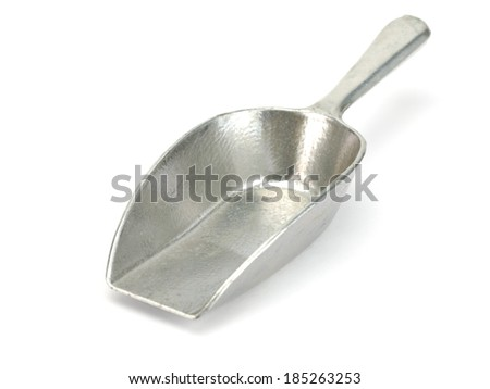 Old small scoop on a white background