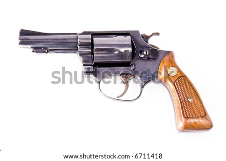 Old Smith and Wesson pistol with wooden handle