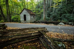 Old Smoky Mountain Mill. Historic roadside mill on the Roaring Fork Motor Nature Trail in the Great Smoky Mountains National Park. Gatlinburg, Tennessee.