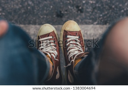 old sneakers.stylish men shoes concept
