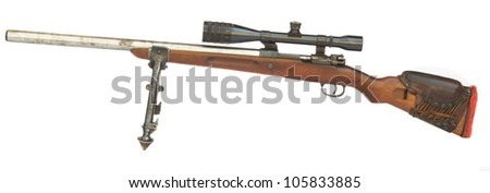 Old Sniper Rifle with scope attached on a tripod isolated on white background
