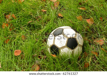Old soccer ball in autumn grass. Element of design.