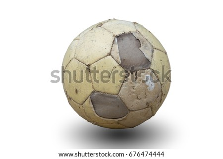 old soccer ball isolated on...
