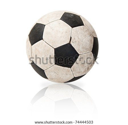 Old soccer ball with reflex
