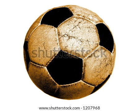 Old soccerball on white background. - stock photo
