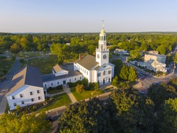 Old South United Methodist Church aerial view at sunset in historic town center, Reading, Massachusetts, MA, USA.