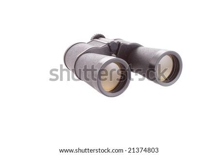 old soviet binocular on the white