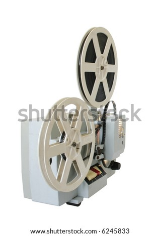 Old soviet cinema projector with charged by film for viewing