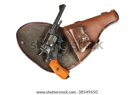 Old Soviet revolver on a white background