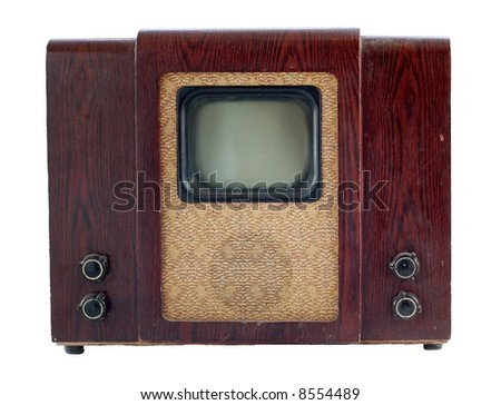 Old soviet tv set isolated over white