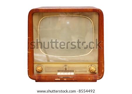 Old soviet tv set isolated over white