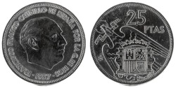 Old Spanish coin of 25 pesetas, Francisco Franco. Year 1957, 74 in the star.