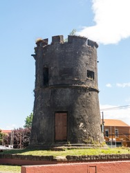 Old spanish tower. El Torreon Los Canelos o Torreon de Cantarranas in Valdivia, Los Rios Region, Chile South America. Dates from the 17th century