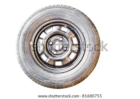 Old Spare wheel on white background