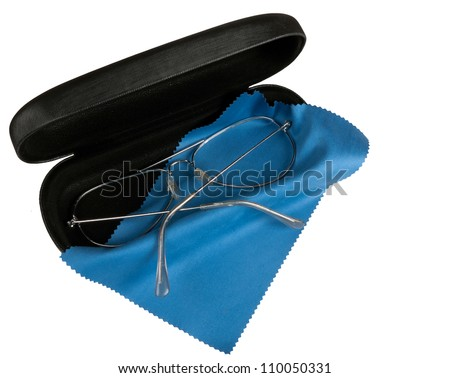Old spectacles, glasses with case - isolated