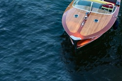 old speedboat on como lake - italy