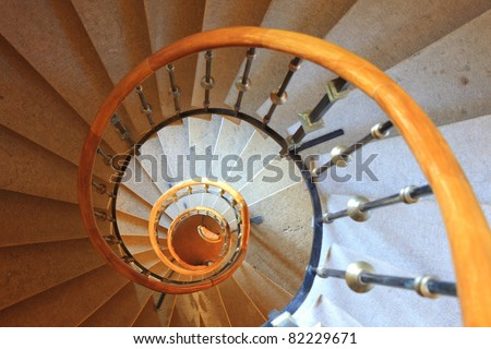 old spiral stair view from top