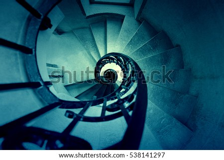 Old spiral staircase , detail of a decorated staircase , ancient architecture