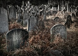 Old spooky crowded graveyard in Autumn / Fall with many headstones and crosses