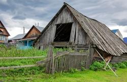 Old spooky dilapidated ramshackle dilapidated slavic village house