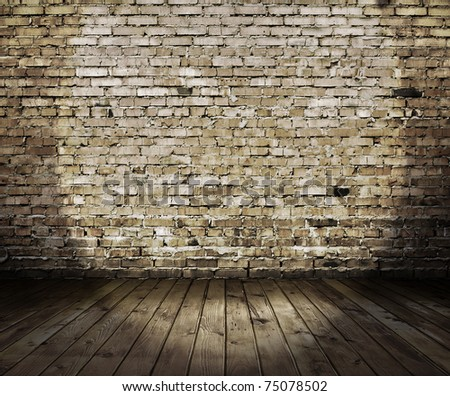old stage with brick wall ...