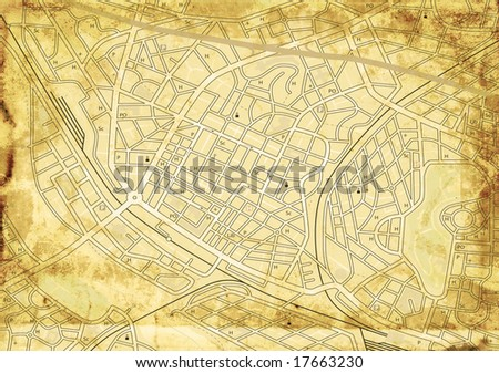 Old stained street map with no names