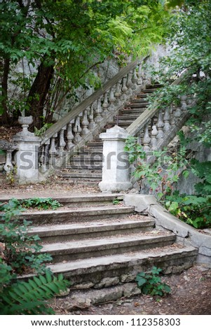 Old staircase in green foliage