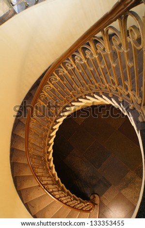 Old staircase in Tbilisi houses of 18-19 centuries, Republic of Georgia - stock photo
