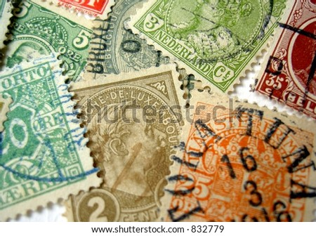 stock photo : old stamps