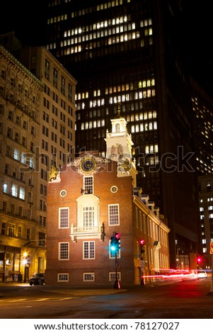 Old State House amid the skyscrapers of the Financial District at night, Boston, USA