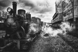old steam engine,black and white photography