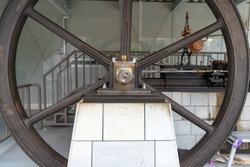 Old steam engine of the Tomioka Silk Mill in Gunma, Japan
