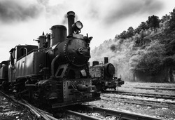 Old steam locomotive,black and white photography
