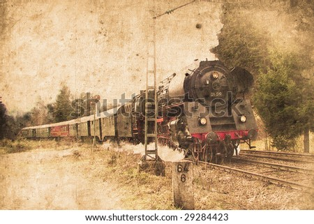 old steam locomotive in retro design look