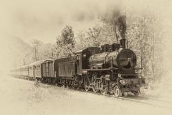 Old steam locomotive in vintage style