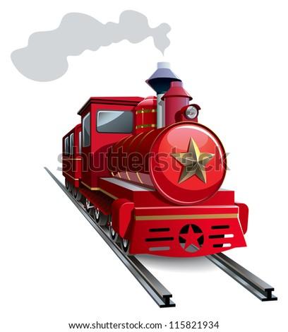 Old steam locomotive with golden star, hi-res raster from vector illustration